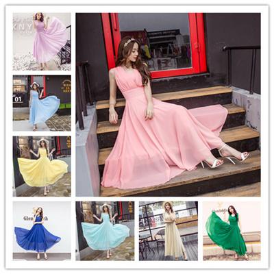韓国ファッション ビーチワンピース 大トレーン パーティー ドレス ワンピース結婚式 二次会 シフォンのワンピース 砂浜のスカート ロングドレス ロングスカート ボヘミアのワンピース