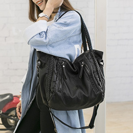 ❤ Genuine Sheepskin Leather Big Tote Bag For Women Woven Shoulder Bag Handbags Girls Fashion