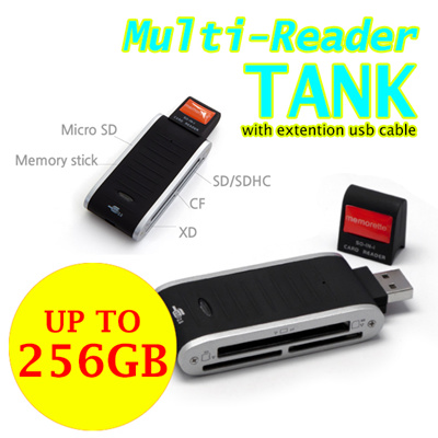 Qoo10 - ♥Upto 256GB♥ TANK multi card reader with extention usb cable / SD card... : Computer / Games