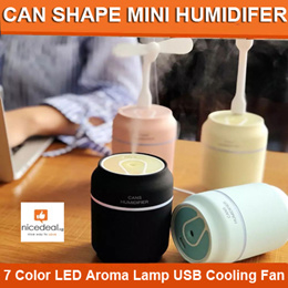 3 in 1 Can Shape Mini Humidifier With 7 Color LED Aroma Lamp Essential Oil Diffuser mist maker