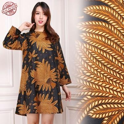 Midi Dress Padi Kuning Batik Tunic