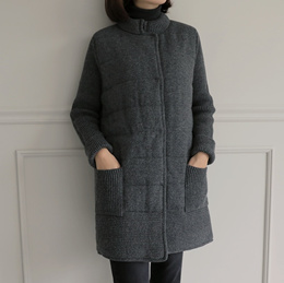 [PUR-PLE官方旗艦店]混羊毛針織拼接外套