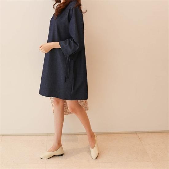 ココジェン行き来するようにココジェン横根リボンのデニムワンピース 綿ワンピース/ 韓国ファッション
