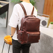 f68d145fe48b Korean men new backpacks leather City boy street casual vintage Crazy Horse  student backpack school