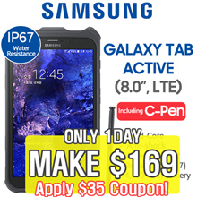 [MAKE $169] [LTE Set] Samsung Tab Active SM-T365 16GB LTE IP67 Water Resistance / (8 inch LTE)