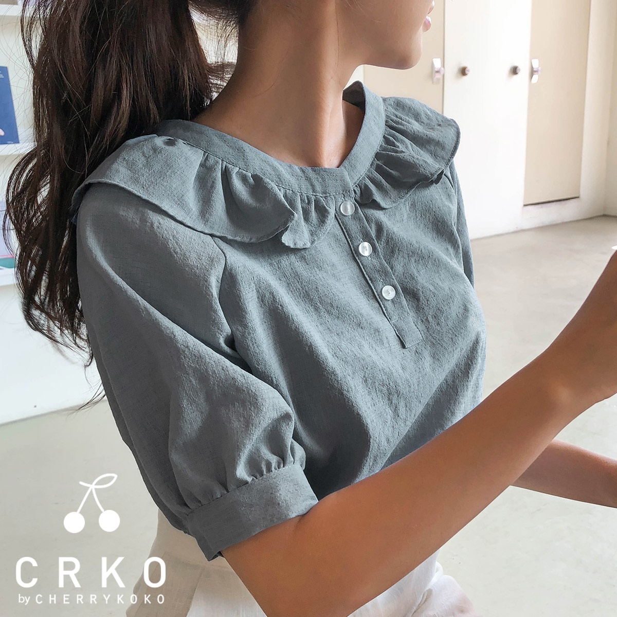 [CHERRYKOKO官方旗艦店] 褶襉飾邊襯衫 / ruffle bottons blouse