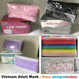 ★SALE $9.99★4ply Vietnam Black Adult Mask 50pc★Pink Yellow Purple Green White Brown Grey Mask★Kitty
