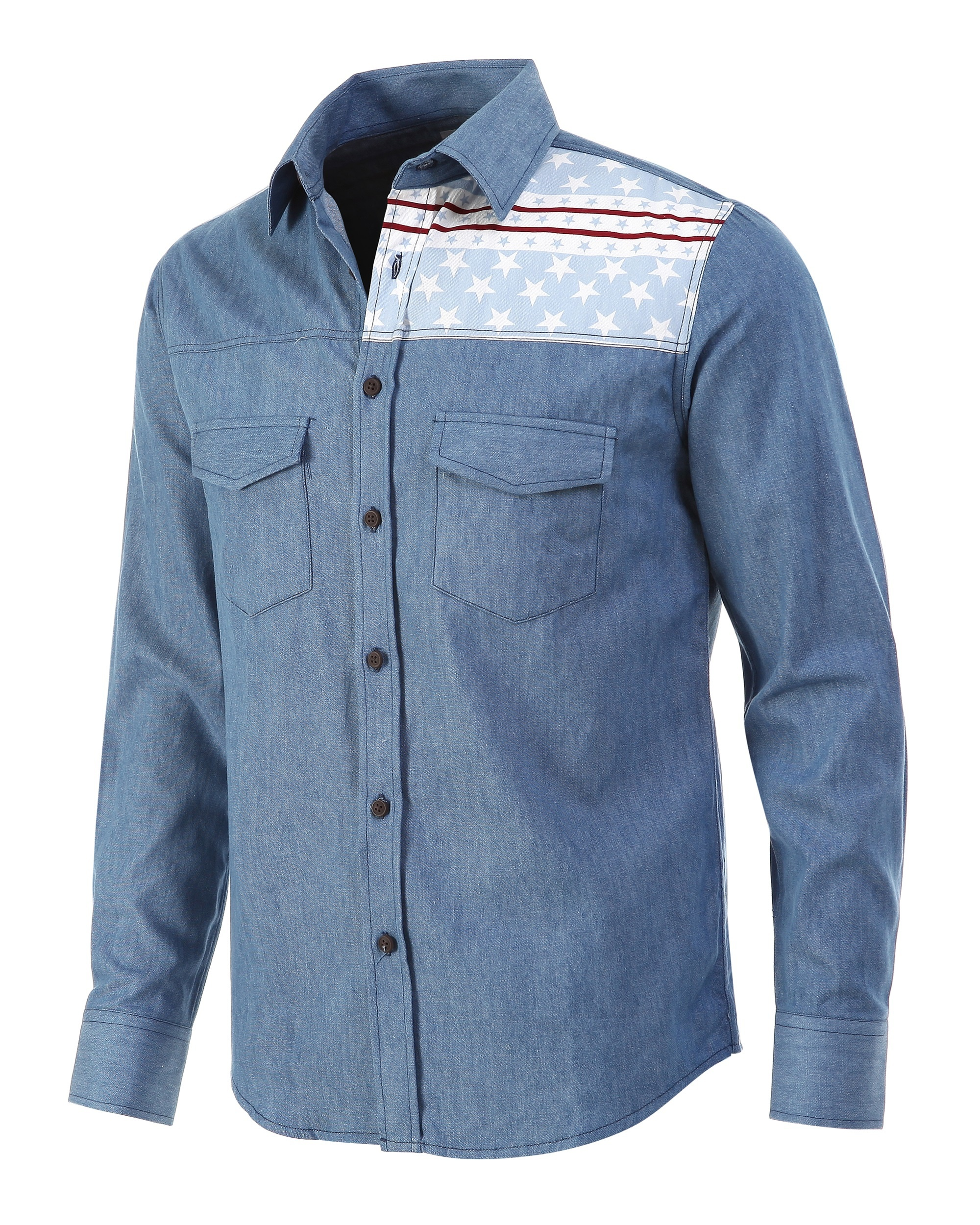 0328b410fc52 actual size. prev next. Mens American Flag Paneled Button-Front Casual  Shirts Slim Fit Long Sleeved Blue