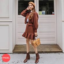 PPGIRL_C848 Lilac two piece / casual set / cardigan + mini skirt / long sleeve / waist band skirt