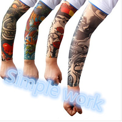 1 Pair Temporary Fake Slip On Tattoo Arm Sleeves Sun Protection Breathable