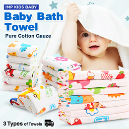 ❤IMP KIDZ❤[Baby Bath Towel][Baby Wash Cloth]Muslin Gauze/Kids Face Towel/Handkerchief/Hankie/Blanket/Suitable for Baby Children and Adult/Soft Quick Dry and Absorbent