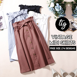 TIG ★ VINTAGE MIDI SKIRTS COLLECTION ★ FREE SIZE ★  SIZE S - L ★  6 COLORS★