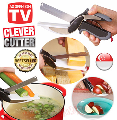 COUPON; 2in1 Clever Cutter Knife and Cutting Board☆Chop Food☆Vegetables Fruits Cheese☆Kitchen