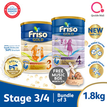 [FRISO][Bundle of 3] Friso Gold Stage 3/4  (1.8kg) (Free Friso Limited Edition Music Box Worth $70)