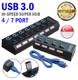 USB 3.0 High Speed Super Hub 4 / 7 Port with 3.0 USB Cable Portable for Android Smart Phones