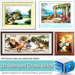 2016 Brand New 3D Stamped Cross Stitch Kit   Needlework Embroidery Kit   Flowers Cross Stitch Kit   Animals Cross Stitch Kit   Landscape Cross Stitch Kit