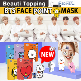 BTS MASK★HOT ITEM★BT21XMEDIHEAL★Face Point Mask+Postcard+bookmark(7 type)[Beauti topping]