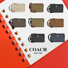 [Official thatbagiwant.com] Coach Leather and Canvas Wristlets Leather Wallet