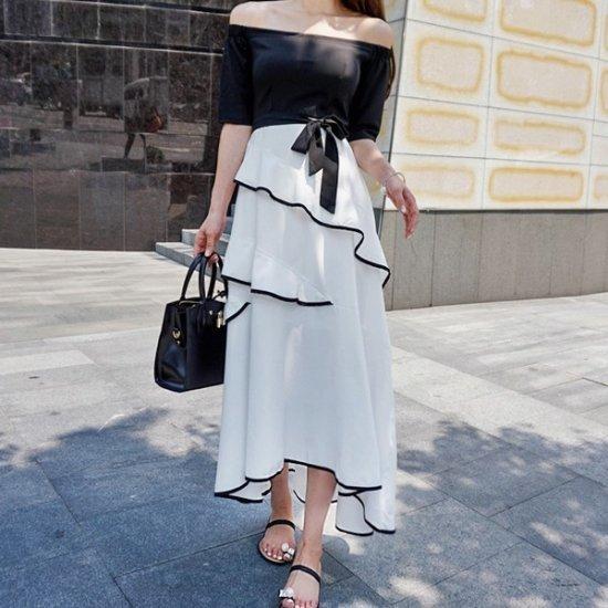 パビエンポムキン行き来するようにパビエンポムキンディナーパーティーロングワンピース プリントのワンピース/ 韓国ファッション