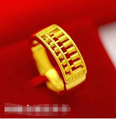 9497813592 actual size. prev next. Colorfast Vietnam alluvial gold ring euro gold  abacus couples ring for men and women 24K gold