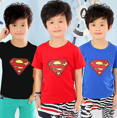 b8142f22 sale 2016 Cotton Kids Boys Superman T-Shirt Short Sleeve Children Tees  Costume Top