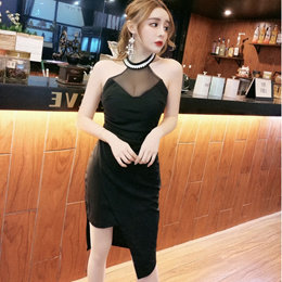 Small video real shoot new sexy low chest hanging neck nail bead dew back tight irregular bag buttoc