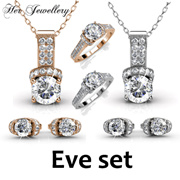 Swarovski® Crystals - Eve Set (White / Rose Gold)(18K White Gold Plated) Her Jewellery