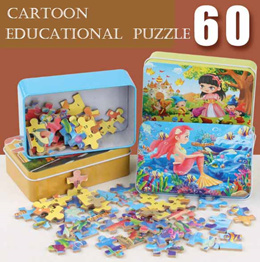 ❤️ Educational Puzzle Kids Goodie Bag Christmas Children Day Gift Iron Box