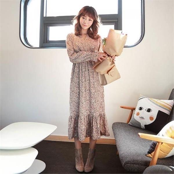 素であるシャトーフラワーシフォンロングワンピースnew プリントワンピース/ワンピース/韓国ファッション