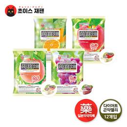 [일본약국직배송] 파우치형 오리지날 곤약젤리 다이어트 젤리 12개입 (사과/복숭아/포도/귤)