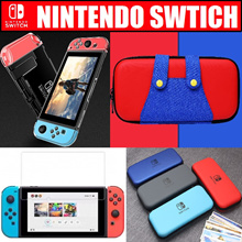 ★ 5 in 1 Nintendo Switch Transparent Crystal Clear Hard Case Console Accessories / Bag Pouch / Case