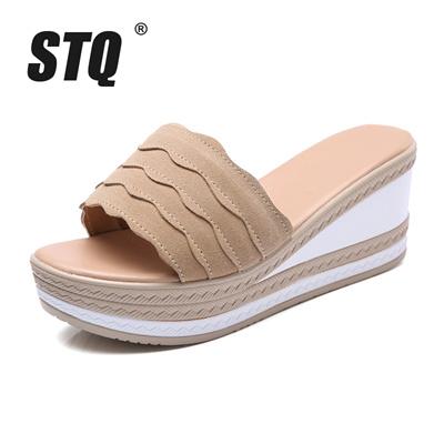 235bc2cb7ba86 authentic STQ 2018 Summer women flat platform slippers slides sandals Shoes  ladies suede leather fli