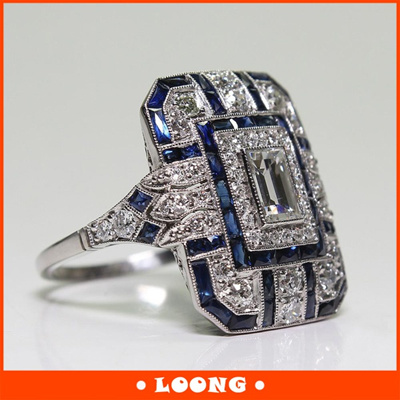 Antique Art Deco Large 925 Jewelry Sterling Silver Blue Sapphire   Diamond  Ring 6ba7a751ae70