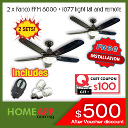 2 SETS Fanco FFM 6000 48 inch Ceiling Fan + Light Kit andRemote. FREE INSTALLATION