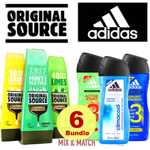 ★Bundle of 6 Best Deal ★ ADIDAS | ORIGINAL SOURCE Unisex Shower Gels Shampoo. MIX N MATCH!