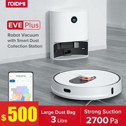 【Global SG】 ROIDMI EVE PLUS Smart Robot Vacuum Mop Cleaner With Self Dust Collection Bin Dock Xiaomi