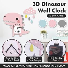 ★IMP HOUSE★ 3D Kids DIY Cartoon Dinosaur Wall Silent Clock Made of Environmental Friendly PVC Foam