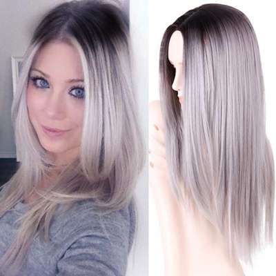Qoo10 26 Inch Long Straight Ombre Grey Wig Synthetic Hair For