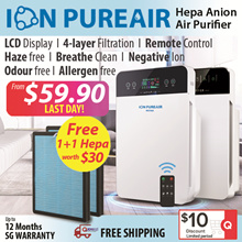 ★Original Authentic★ Air Purifier Hepa Filter★ ION PUREAIR★LCD Display/Negative Ion★