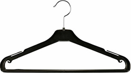 (The Great American Hanger Company) Black Plastic Suit Hanger with Non-Slip Pant Bar, 17 Inch Han...