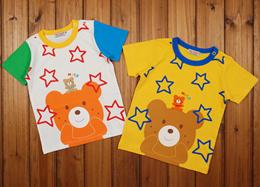 Mikihouse children short sleeve t-shirt for boys summer dress cotton bear 2016 summer stars new