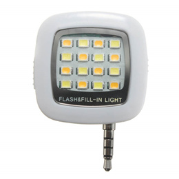 Mini 3.5mm Jack Smart Selfie 16LED Camera Flash Light For IOS Android iPhone 5 6 White
