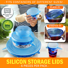 [6 pcs Pack] Silicon Storage Lids Fit all Storage Size Universal Stretch Lid for Bowl Pot Cup Mug