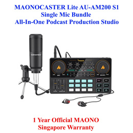 Maono Maonocaster Lite AU-AM200 S1 Single Mic Bundle Portable Live Streaming and Studio Podcast USB