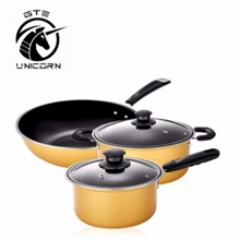 5pcs Nonstick Cookware Wok Frying Pan?? Pot Induction Cookware Set - Yellow (CW-7105)