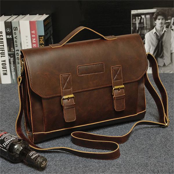Retro Men Faux Leather Handbag Messenger Shoulder Bag Satchel Laptop Briefcase Deals for only S$38.2 instead of S$0
