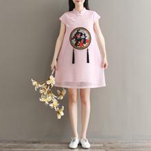 2019 NEW QIPAO  DRESS  LINEN   Modern Cheongsam  CNY Dress/Embroidery DRESS