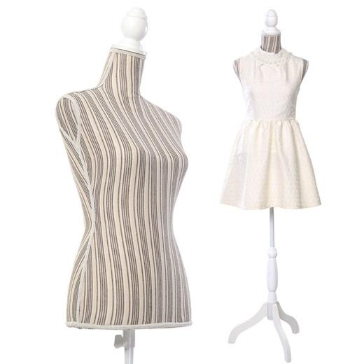 Female Mannequin Torso Dress Form Display W/ White Tripod Stand New