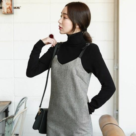 ホワイト・フォックスシムプルピッ開けたことウールワンピース 綿ワンピース/ 韓国ファッション