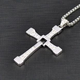 (BHM) FAST and FURIOUS Vin Diesel Dominic Toretto s Cross Silver-like Pendant Necklace Big Size P...